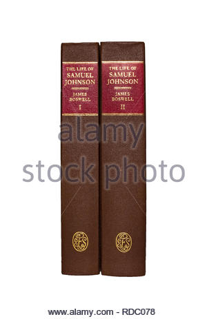The Folio Society edition of 'The  Life of Samuel Johnson', by James Boswell, two volumes.   Isolated on white background. - Stock Image