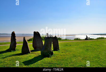 River Severn estuary, sandbanks at low tide, looking from near Lydney down river with foreground stone sculpture - Stock Image