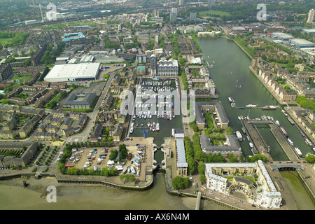Aerial view of Rainbow Quay, South Dock and part of Greenland Dock in the Rotherhithe area of London, overlooking - Stock Image