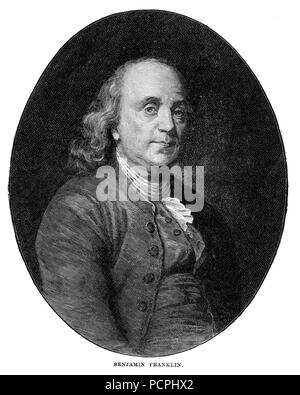 Portrait of Benjamin Franklin, US President. Illustration from Cassell's History of England, King's Edition Part 33 - Stock Image