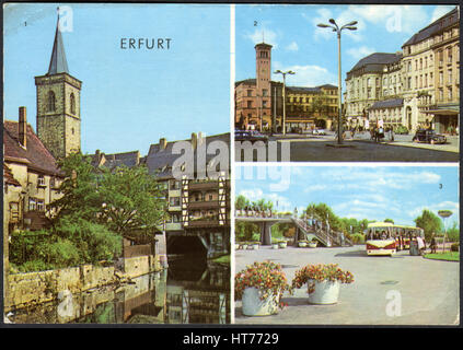 GERMANY - CIRCA 1970: A postcard printed in Germany, shows a cityscape of Erfurt, circa 1970 - Stock Image