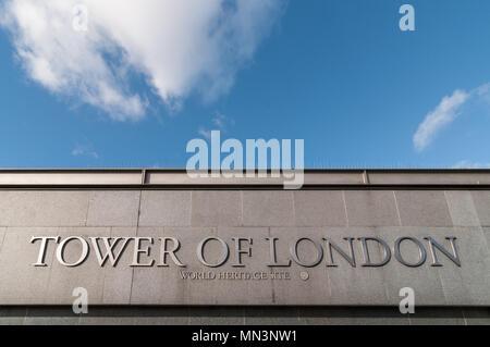 Tower of London sign, London, United Kingdom - Stock Image