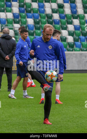 Windsor Park, Belfast, Northern Ireland.20 March 2019. Northern Ireland training in Belfast this morning ahead of their UEFA EURO 2020 Qualifier against Estonia tomorrow night in the stadium. Liam Boyce training. Credit: David Hunter/Alamy Live News. - Stock Image