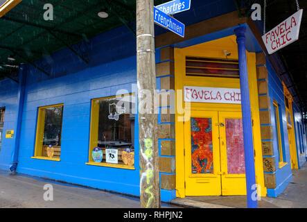 Favela Chic Restaurant, corner of Frenchmen Street and Chartres Street, Marigny neighborhood, New Orleans French Quarter, Louisiana, USA. - Stock Image