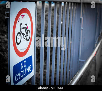 cycling and no cycling restricted and cycle way within the National Cycle Network - Stock Image