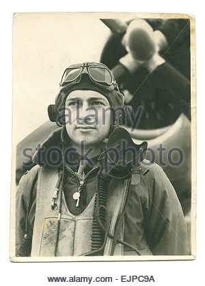 World War Two US Army Air Forces P-47 Thunderbolt Aircraft Pilot Louis L Wilson this tattered snapshot of Wilson - Stock Image