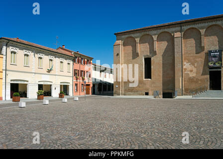 part of the monastery complex and square in San Benedetto Po, Lombardy, Italy - Stock Image
