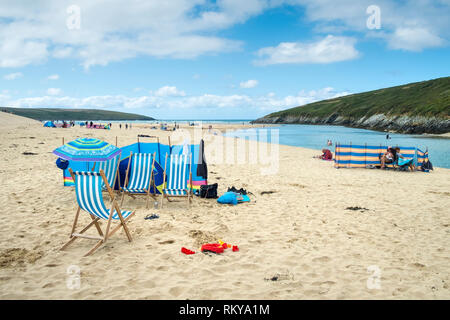 Crantock Beach in Newquay in Cornwall. - Stock Image