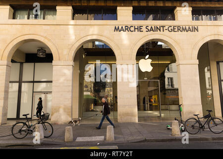 Exterior of Apple store at Marche Saint Germain in Paris, France. - Stock Image