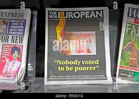 The New European newspaper headline 'Nobody voted to be poorer' November December 2018  London England UK - Stock Image