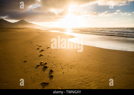 Beautiful beach with nobody for tropical scenic destination - summer holiday vacation - nice sunset on the shore with mountains and waves in backgroun - Stock Image