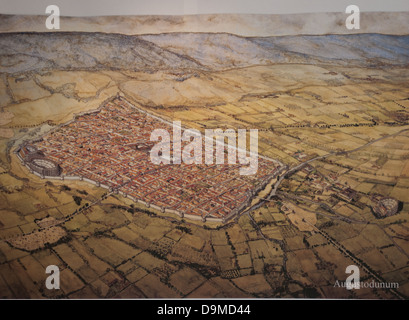 Model of Augustodunum original Roman walled town now Autun Burgundy France The theatre amphitheatre and arena are - Stock Image