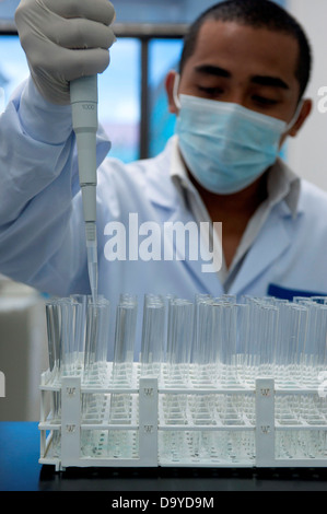 Quality control test being conducted in a laboratory, Brunei - Stock Image