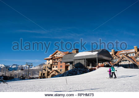 Chondola hybrid lift, Mountain Village, San Miguel County, Colorado, USA - Stock Image