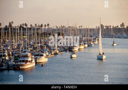 California Oxnard Channel Islands Harbor marina view from bridge - Stock Image