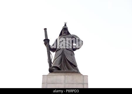 Statue of Admiral Yi Sun-Shin isolated on white background. In Gwanghwamun, Seoul, South Korea. - Stock Image