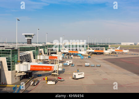 Gates at Amsterdam Airport Schiphol as seen from the panorama platform - Stock Image
