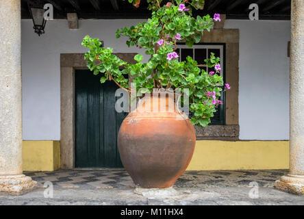 House exterior with large terracotta pot and pelagonium flowers, Obidos, Estremadura, Portugal - Stock Image