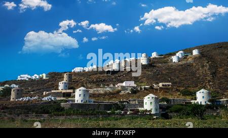 Santorini island, Greece. Windmills near Oia village in Thira. - Stock Image