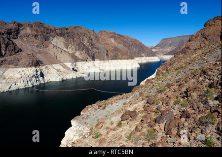 Lake Mead Reservoir at Hoover Dam, on the Nevada-Arizona border, USA. - Stock Image