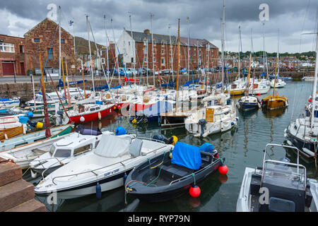 Boats in the harbour, North Berwick, East Lothian, Scotland, UK - Stock Image