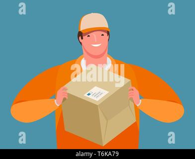 Business delivery. Courier hands a parcel. Cartoon vector illustration - Stock Image
