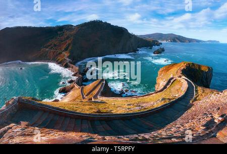 Panorama of stairs in gaztelugatxe in Basque Country coast - Stock Image