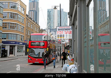 The 78 Shoreditch bus and property for sale investment sign in a street in East London UK  KATHY DEWITT - Stock Image