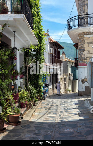 A Street in Skopelos Town, Northern Sporades Greece. - Stock Image