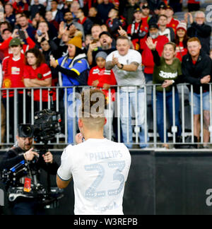 Optus Stadium, Burswood, Perth, W Australia. 17th July 2019. Manchester United versus Leeds United; pre-season tour; Kalvin Phillips of Leeds United is applauded by the fans after the match Credit: Action Plus Sports Images/Alamy Live News - Stock Image