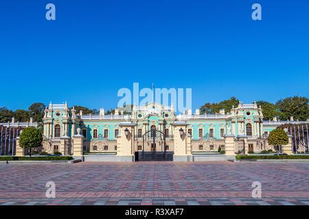 Mariinsky Palace historic building on a background of blue sky Ukraine, Kiev 11.10.2018 - Stock Image