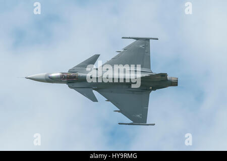 Saab JAS 39 Gripen is a light single-engine multirole fighter aircraft manufactured by the Swedish aerospace company - Stock Image