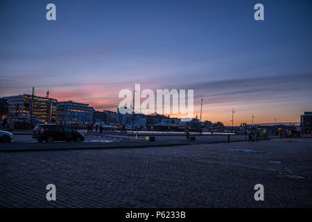 Sunset at Bergen Harbour taken facing the opposite way from the world heritage site Bryggen - Stock Image