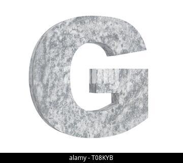 Concrete Capital Letter - G isolated on white background. 3D render Illustration - Stock Image