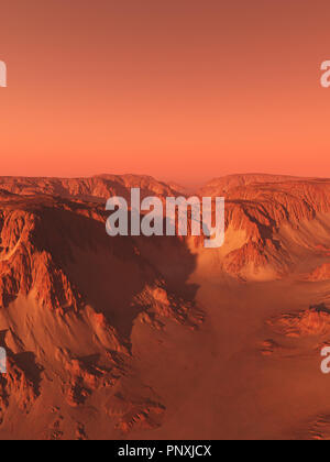 Mountains and Canyon on Mars - Stock Image