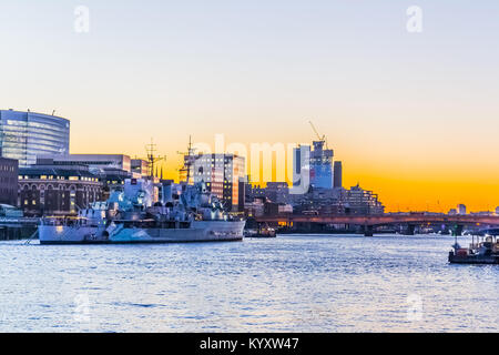 HMS Belfast, Embankment / River Thames, London - Stock Image