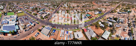 TOwn centre and shopping village with main street of Lightning Ridge town in outback Australia - centre of opal mining industry from above in wide aer - Stock Image