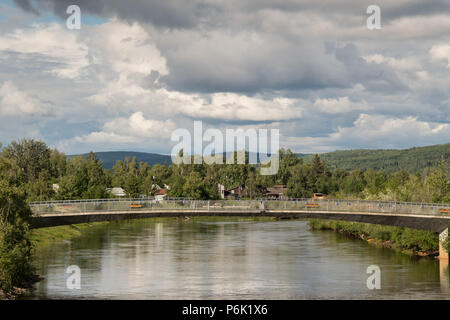 View of the Chena River from the Cushman Street bridge showing Griffin downtown riverfront park in Fairbanks, Alaska. - Stock Image