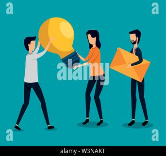 businessmen and businesswoman teamwork with bulb idea and letter message - Stock Image