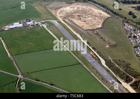 aerial view of Crosland Moor Airfield, Huddersfield, West Yorkshire - Stock Image