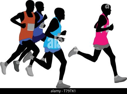 group of marathon runners silhouette - vector - Stock Image