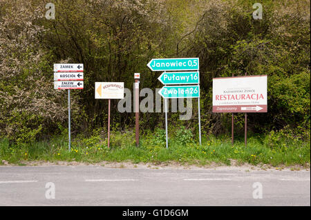 Sights course sign board by the rural road, information showing directions to Janowiec, Pulawy and Zwolen but also - Stock Image