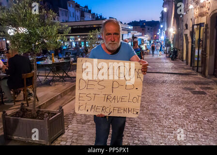 Aix-en-Provence, FRANCE, French Man Holding Protest SIgn against Gays, homophobia poster - Stock Image