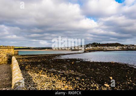 Causeway and Marazion at St Michael's Mount, Cornwall, UK - Stock Image