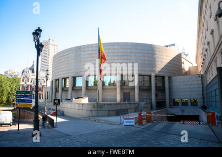 The Senate (Spanish: Senado) is the upper house of Spain's parliament, the Cortes Generales.  Madrid is a south - Stock Image