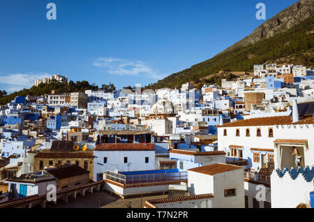 Chefchaouen, Morocco : Rooftops of the medina old town, well noted for its blue-washed architecture. - Stock Image