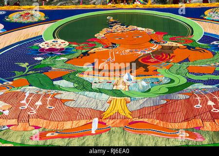 Tibet, Malerei am Kloster Drepung - Stock Image