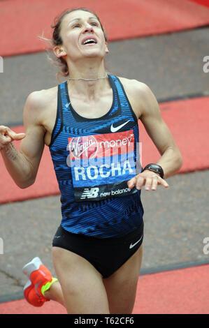 London, UK, 28 April 2019 Carla Salome Rocha of Portugal. Runners at finishing line of  Virgin London Marathon Credit: JOHNNY ARMSTEAD/Alamy Live News - Stock Image
