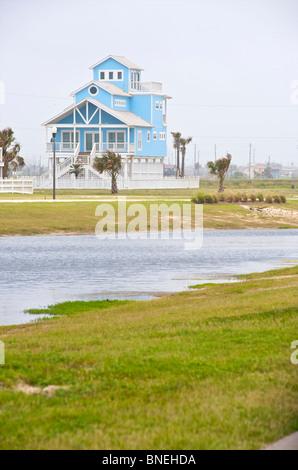 Typical wooden houses architecture Galveston, Texas, USA - Stock Image