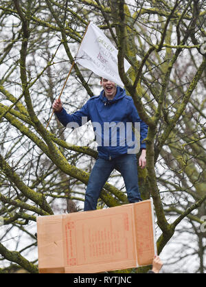 Brighton, UK. 15th Mar, 2019. A student climbs a tree to make a point as thousands of students schoolchildren and parents march through Brighton as they take part in the second Youth Strike 4 Climate protest today as part of a co-ordinated day of global action. Thousands of students and schoolchildren are set to go on strike at 11am today as part of a global youth action protest over climate change Credit: Simon Dack/Alamy Live News - Stock Image